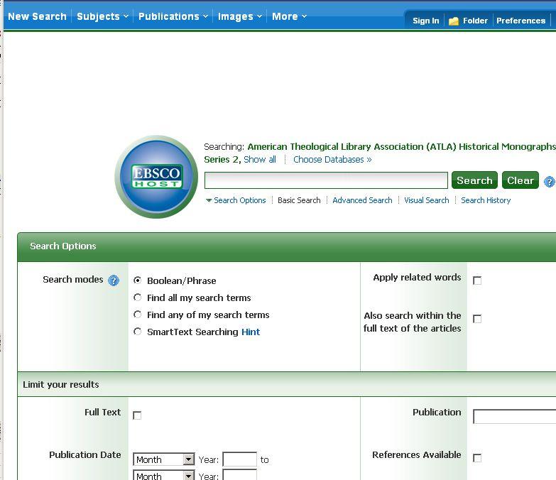 Vyheldávací formulář v systému EBSCO