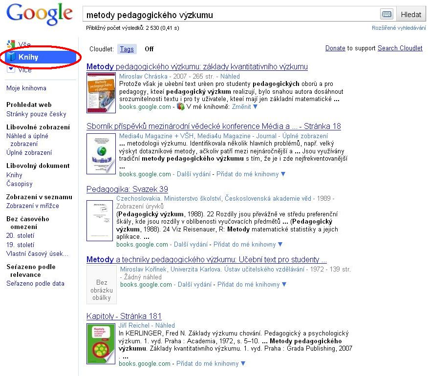 Ukázka výsledků hledání v knihách na Googlu