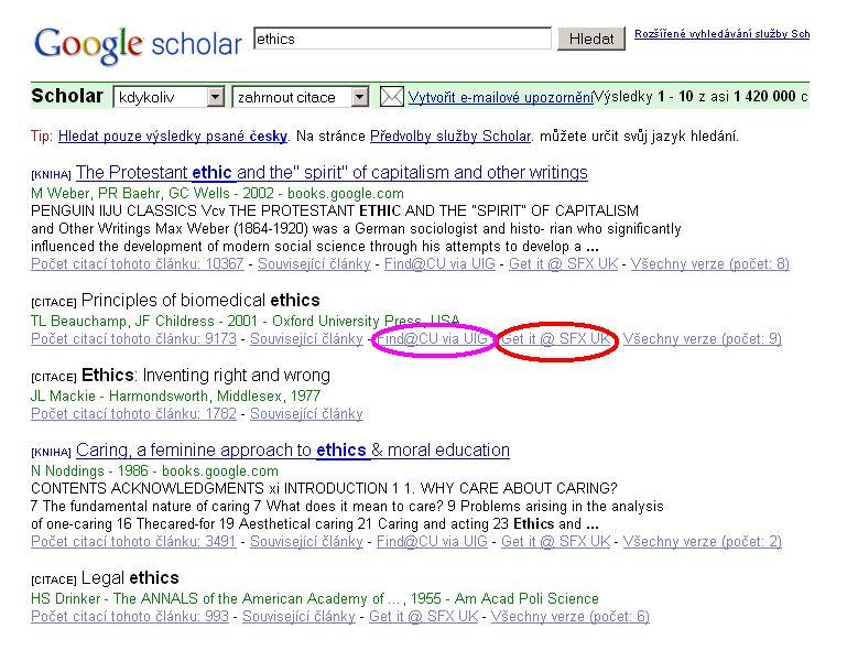 Ukázka výsledků vyhledávání v Google scholar
