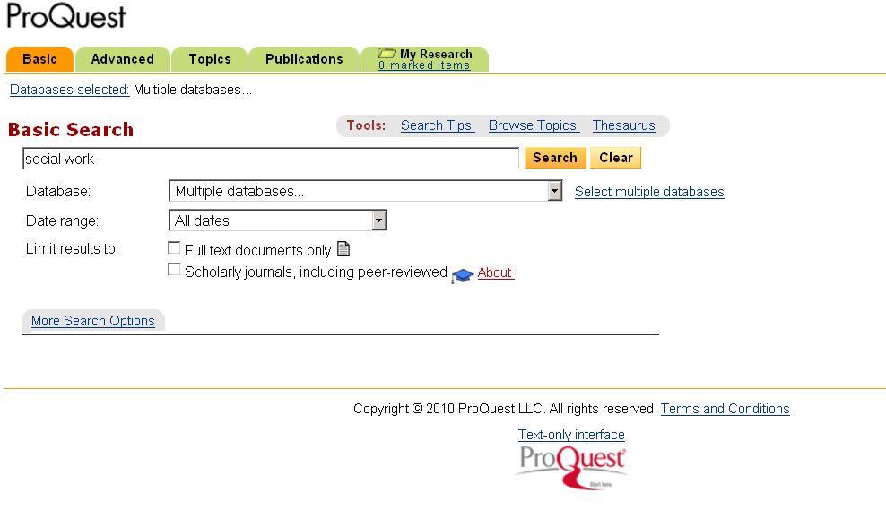 Vyhledávací formulář v systému ProQuest